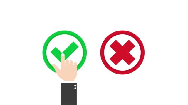 Hand presses checkmark icon motion 4k video