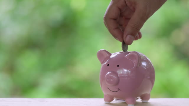 Hand putting coins in a piggy bank, Saving money concept Hand putting coins in a piggy bank, Saving money concept piggy bank stock videos & royalty-free footage