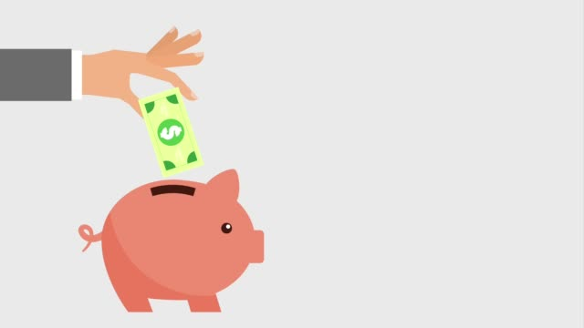 hand putting money into piggy bank icons - semplicità video stock e b–roll
