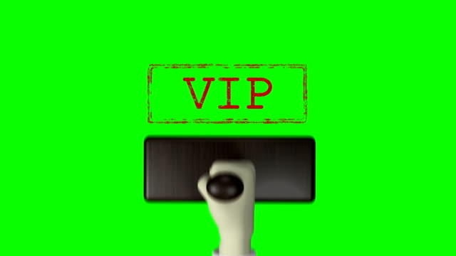 "3d 손 고무 스탬프 ""vip""녹색 화면 4k 해상도 - stamp 스톡 비디오 및 b-롤 화면"