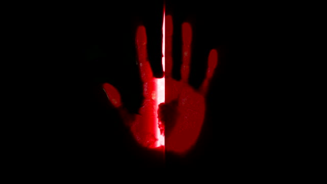 hand scanner handprint fingerprint palm password id red - palm of hand stock videos & royalty-free footage