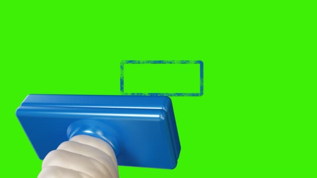 hand stamping on green screen
