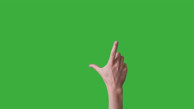 Hand touching screen on green screen
