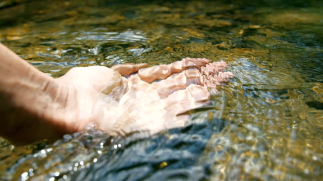 Hand touching stream water Hand touching stream water purified water stock videos & royalty-free footage