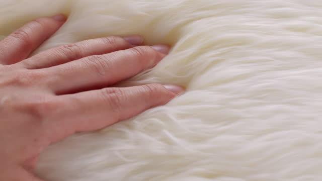 vídeos de stock e filmes b-roll de a hand touching wool sweaters - suavidade