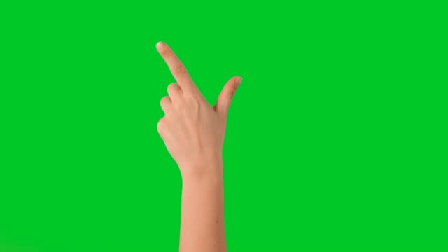 Hand touchscreen gestures on green screen Hand tapping and sliding zooming in and out on chroma key background. finger stock videos & royalty-free footage