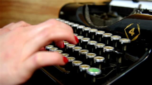 Hand Typing on Typewriter. video