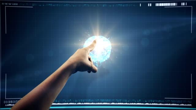 Hand using digital interface screen video