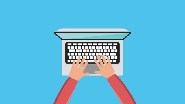 hand using keyboard the laptop and computer - clip art video stock e b–roll