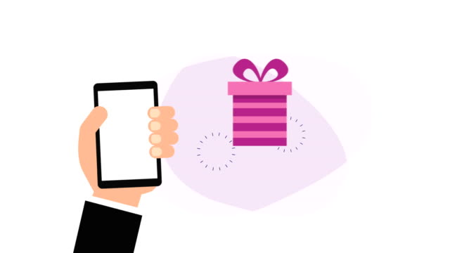 hand using smartphone with ecommerce application and gifts