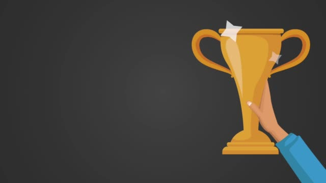 hand winner with trophy animation video