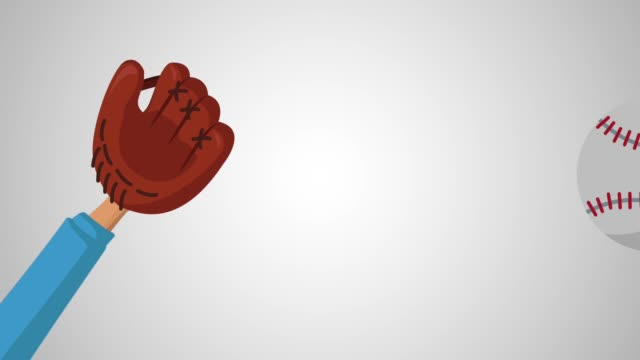 Hand with baseball glove catching a ball HD animation video