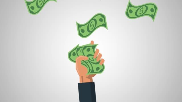 vídeos y material grabado en eventos de stock de mano con dinero en efectivo animación hd - prosperidad