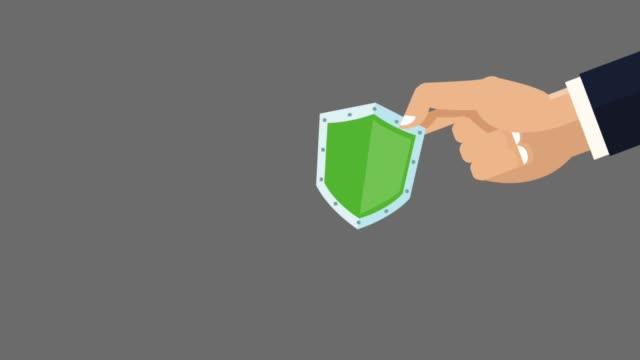 hd アニメーションの盾を持つ手 - ウイルス対策ソフト点の映像素材/bロール