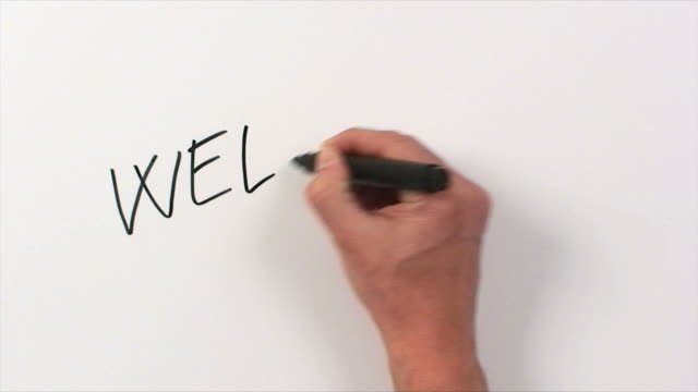 Hand Writing Word Welcome video