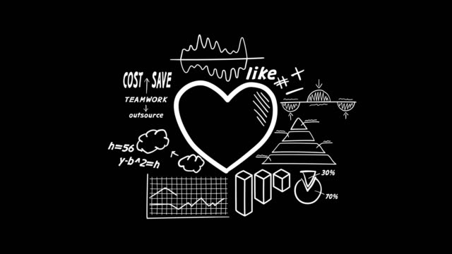 Hand-drawn animation - heart and infographics.
