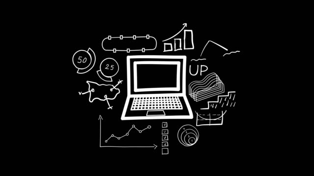 Hand-drawn animation - laptop and infographics.