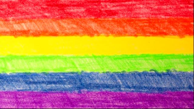 animação desenhada à mão. bandeira LGBT interceptar publicidade - vídeo