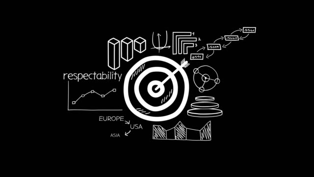 Hand-drawn animation - target and advertisement.