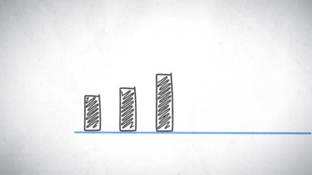 crescita grafico disegnato a mano - guadagnare soldi video stock e b–roll