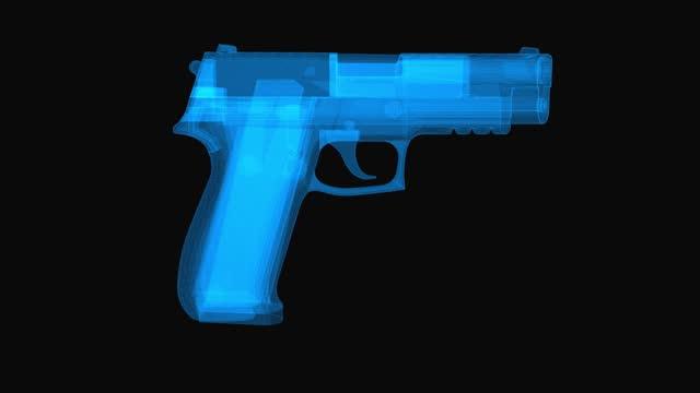 Handgun wireframe scheme. 3d render with blue grid lines. Loop rotation on black background.