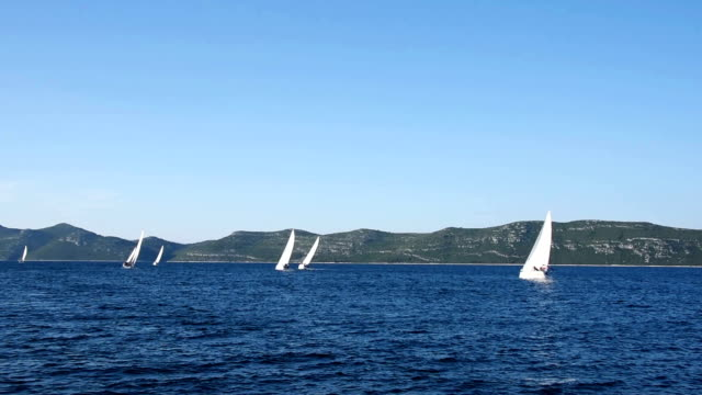 vídeos y material grabado en eventos de stock de hd: portátil las embarcaciones a vela en el regatta - agente de viajes