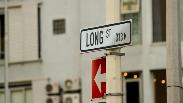 Hand-held shot of a street sign for Long Street in Cape Town, South Africa video