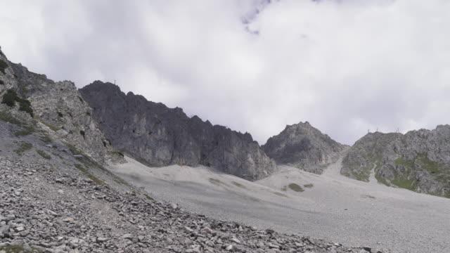 handheld view: walking to see a alps of Austria in summer, Hafelekarspitze-Seegrube at Karwendel Mountain,Innsbruck Austria