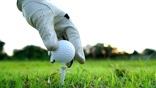 ゴルフのピン上に配置ハンドル ゴルフ ボール - 戦い点の映像素材/bロール