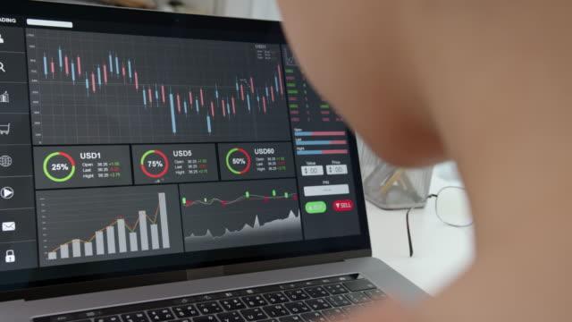 griff schuss von geschäftsfrau händler suchen auf dem computer mit graphen analyse kerzenlinie auf dem tisch im büro, diagramme auf dem bildschirm. - geschäftsstrategie stock-videos und b-roll-filmmaterial