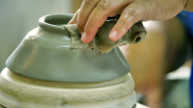 handmade ceramics factory in lampang province - porcelain stock videos & royalty-free footage
