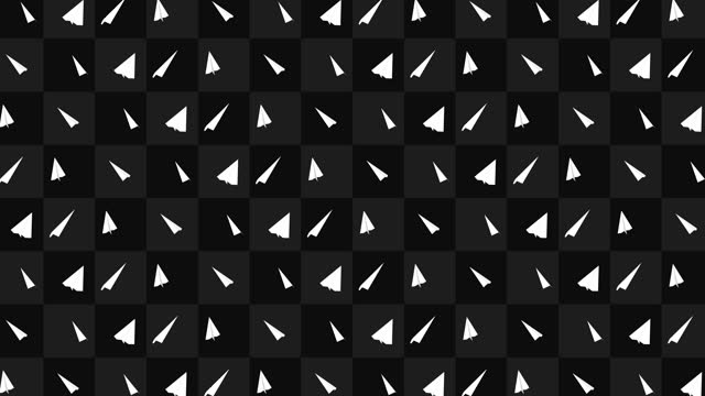 Handmade paper plane collection. Loop animation of flowing white paper plane on black background. Business connection concept. Origami airplane flying.