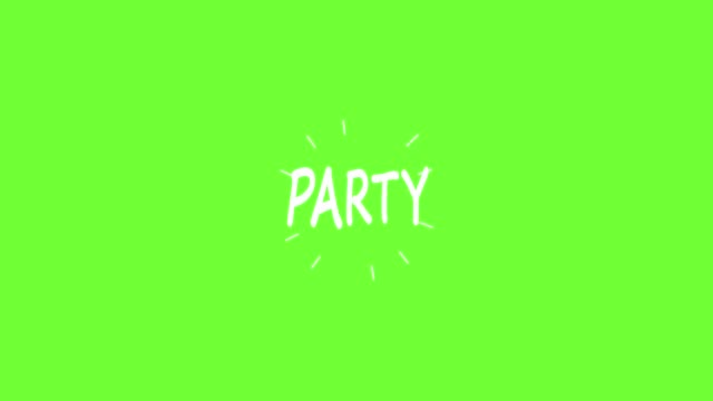 handgemachte party wort doodle animation. green-screen chroma key hintergrund - comic font stock-videos und b-roll-filmmaterial