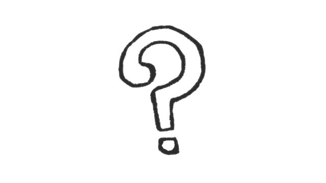 Handmade question mark doodle animation. Pure white background.