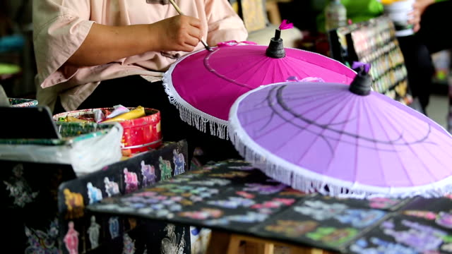 Handmade Thai style umbrella painting