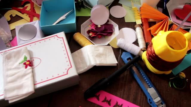 handmade wooden table - feltro video stock e b–roll
