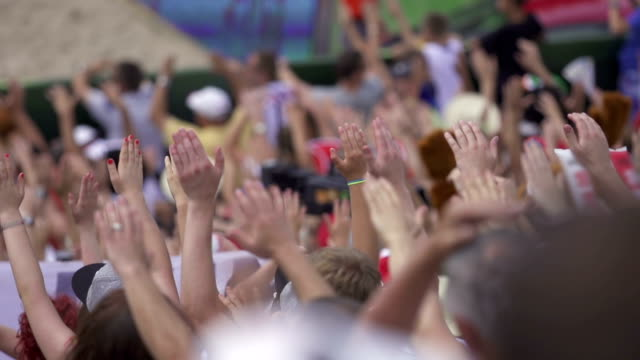 Hands at sport competition audience video