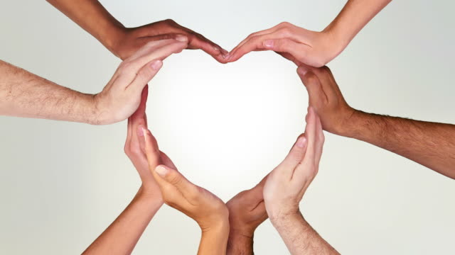 Hands forming a heart. Luma matte. Loopable f111/f338. Valentine's Day. Multiracial female and male hands making a heart. Full HD. Animation created exclusively for iStockphoto. Loopable from frame 111 to frame 338. Learn how to use luma matte here: http://www.istockphoto.com/article_view.php?ID=429/ love emotion stock videos & royalty-free footage