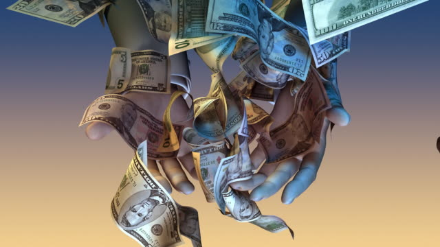 Hands grasping at falling American money. video