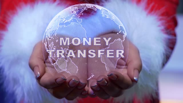 Hands holding planet with text Money Transfer