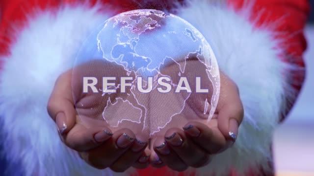 vídeos de stock, filmes e b-roll de mãos segurando planeta com recusa de texto - validação