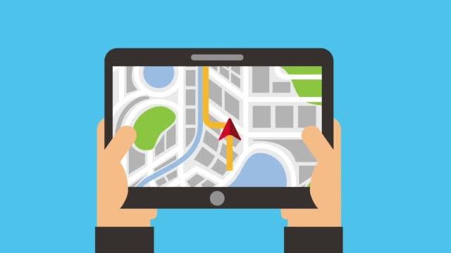 Hands Holding Tablet Map Navigation Route Destination Stock Video