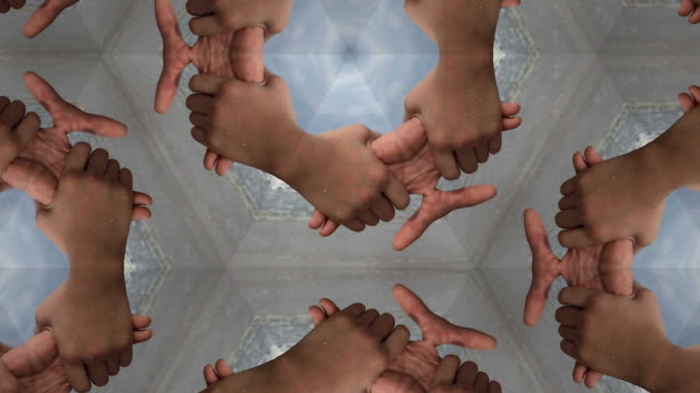 hands holding together kaleidoscope video