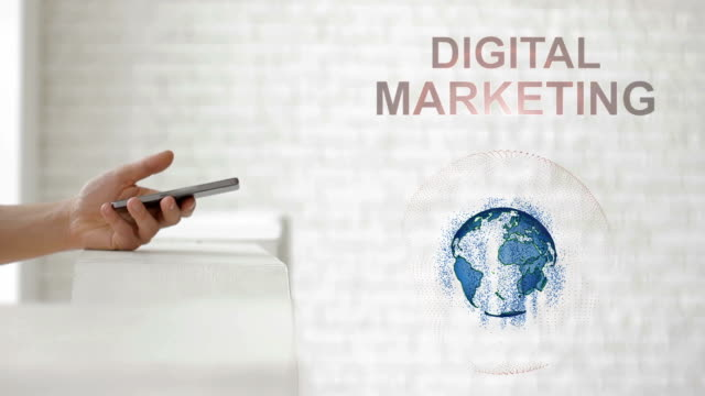 hands launch the earth's hologram and digital marketing text - digital marketing stock videos & royalty-free footage