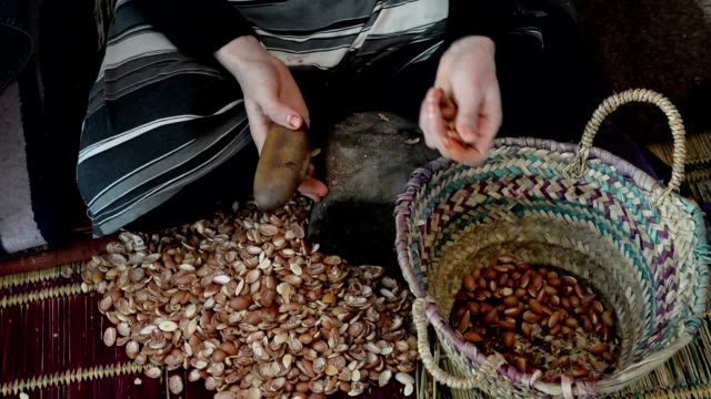 Hands of a woman who is breaking argan nuts video