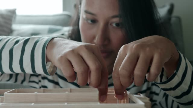 Hands of architect woman making interior wall Thailand, architect, working, design, wall, model home, woman, skill, enjoyment craftsman architecture stock videos & royalty-free footage