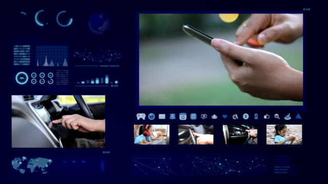 Hands of man and woman using touch screen   mobile and car with technology concept footage and   element video