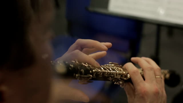 Hands Of Musician Playing The Oboe video