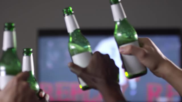 Hands of Sport Fans Toasting with Beer video