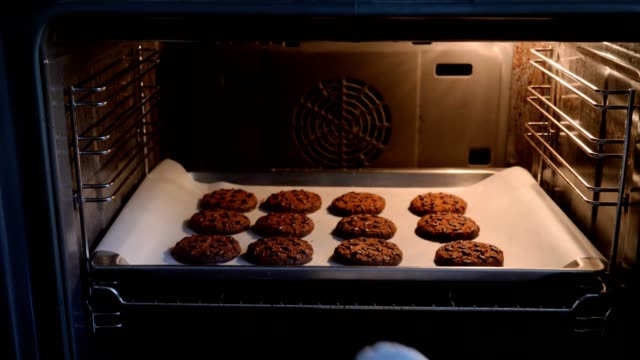 Hands Of The Cooks Take Out From The Oven A Tray Of Prepared Oatmeal Cookies Close-up of the chef hands take out of the oven baking with cooked oatmeal cookies with chocolate tray stock videos & royalty-free footage